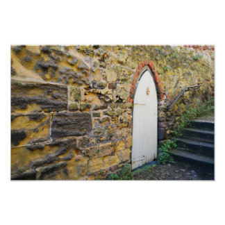 石の家の古いドア階段ポスター ポスター