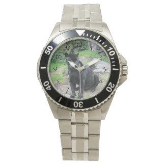 石の着席の大きく黒いジャガー猫 腕時計