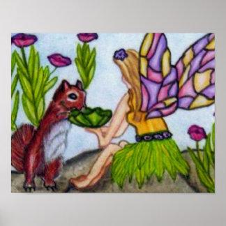 石の花のリスと共有している妖精 ポスター
