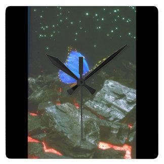 石の蝶。 (butterfly_Space場面 スクエア壁時計