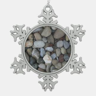 石の質のテンプレート ピューター製スノーフレークオーナメント