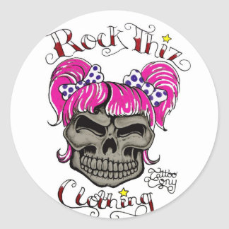 石のThizの衣類及び入れ墨のトニーのピンクのポニーテール 丸形シールステッカー