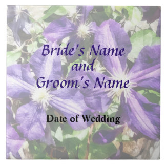石塀の結婚式プログラムのクレマチス タイル