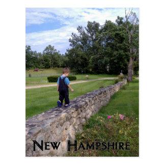 石塀ニューハンプシャーの男の子の歩く ポストカード