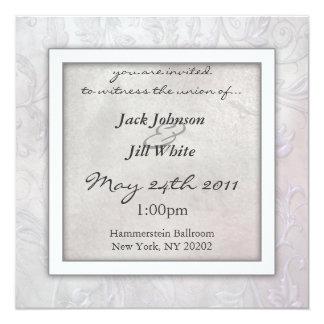 石板の花柄の結婚式招待状 13.3 スクエアインビテーションカード