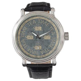 石板の茶時間金ゴールド 腕時計