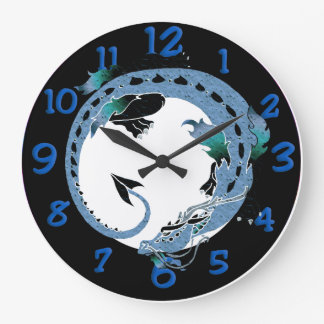 石板の青いペンキの文字盤 ラージ壁時計