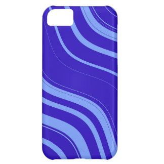 石板の青い波状のストライプなパターン iPhone5Cケース