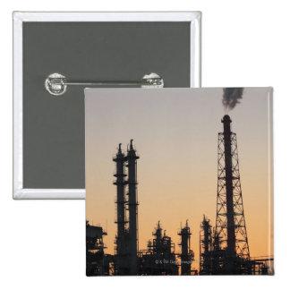 石油化学工場 5.1CM 正方形バッジ