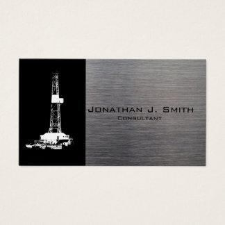 石油開発の装備のシルエット、金属の一見 名刺