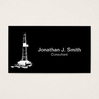石油開発の装備の白のシルエット 名刺