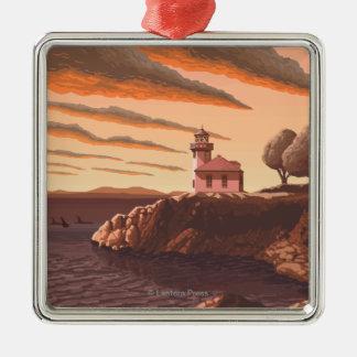 石灰がまの灯台ヴィンテージ旅行ポスター メタルオーナメント