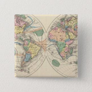 石版刷にされた世界地図 5.1CM 正方形バッジ