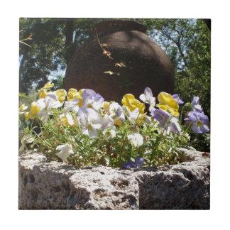 石造りのたらいのビオラ タイル