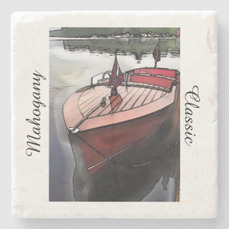 石造りのコースターのクラシックなマホガニーのボートのプリント ストーンコースター
