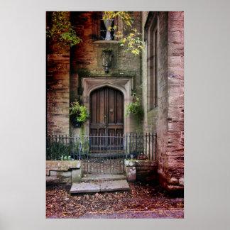 石造りの家のドア ポスター