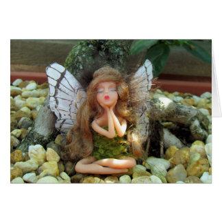 石造りの庭の挨拶状の妖精 カード