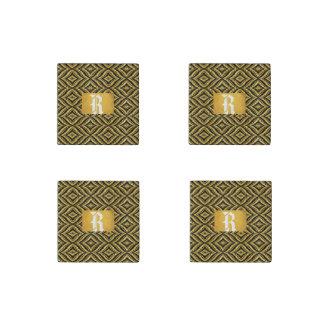 石造りの磁石の金ゴールドの黒のモノグラム ストーンマグネット