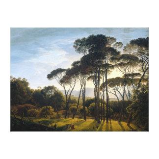 石造りの高野槙のキャンバスとのイタリアンな景色 キャンバスプリント