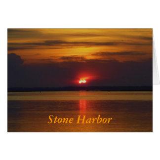 石造り港の日没 カード