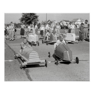 石鹸箱ダービー1940年。 ヴィンテージの写真 ポスター