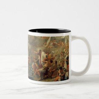 石(キャンバスの油)からのモーゼのスケッチ水 ツートーンマグカップ