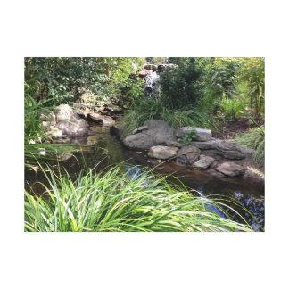 石、水、緑の草木の自然のキャンバス キャンバスプリント