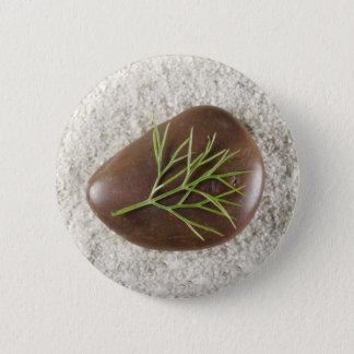 石、海藻及び砂ボタン 5.7CM 丸型バッジ