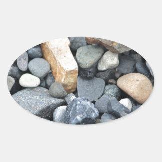 石、石および砂利 楕円形シール