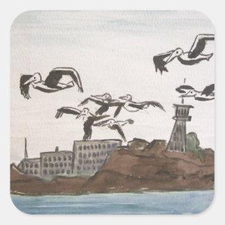 石、Alcatrazの島のサンのフランを脱出しているペリカン スクエアシール