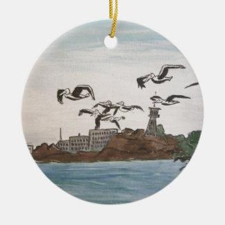 石、Alcatrazの島のサンのフランを脱出しているペリカン セラミックオーナメント
