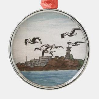 石、Alcatrazの島のサンのフランを脱出しているペリカン メタルオーナメント