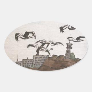 石、Alcatrazの島のサンのフランを脱出しているペリカン 楕円形シール