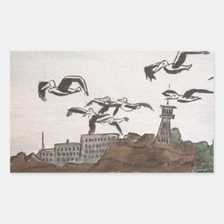 石、Alcatrazの島のサンのフランを脱出しているペリカン 長方形シール