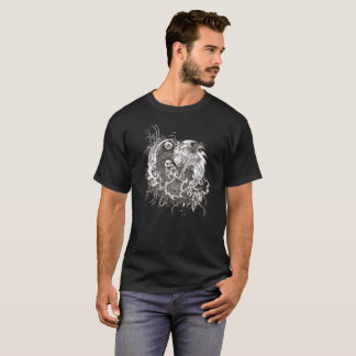 石Nロールギターのハロウィンの骨組Tシャツ Tシャツ
