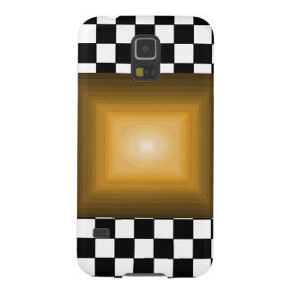石nロールレトロの金ゴールドのヒップスターB/Wのチェッカーボード Galaxy S5 ケース