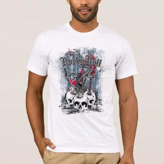 石nロール、ギターのスカル、人のTシャツ Tシャツ