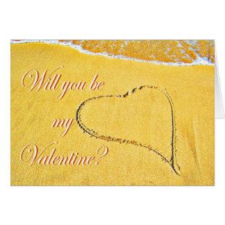 砂で描かれた愛ハート私のバレンタインですか。 カード