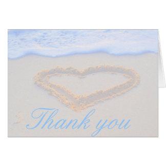 砂で描かれるハートありがとう カード