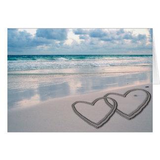 砂で描かれるハート カード