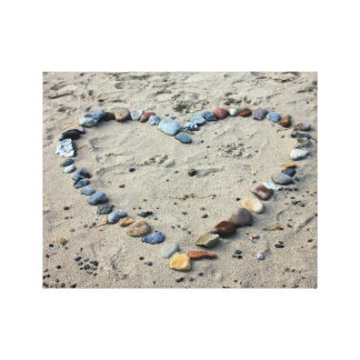 砂のハートの小石 キャンバスプリント