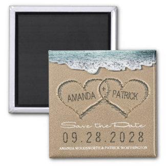 砂のビーチ結婚式のハートは日付を救います マグネット