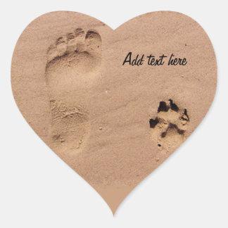 砂のペット及び足跡 ハートシール