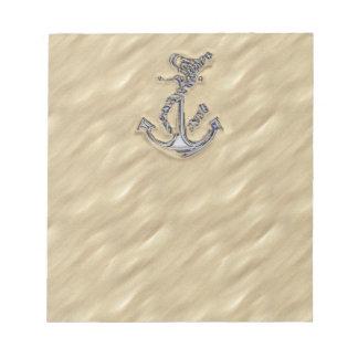 砂のロープのいかりのようなクロム ノートパッド