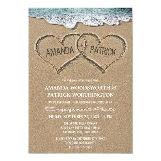 砂の婚約パーティの招待状のハート カード