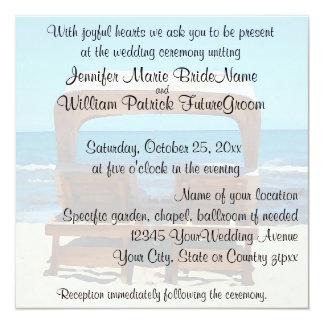砂の招待のビーチチェアの結婚 カード