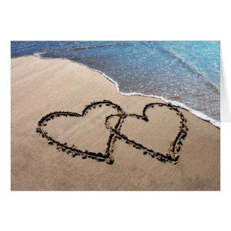 砂の挨拶状の2つのハート ノートカード