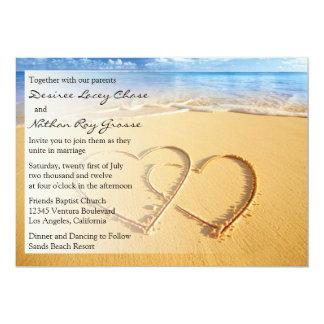 砂の結婚式招待状の2つのハート カード