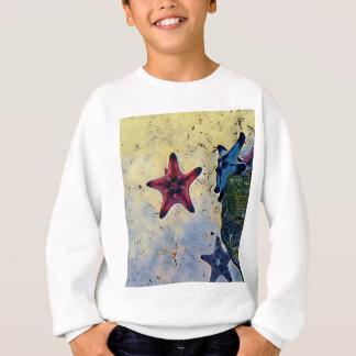 砂の芸術的で赤く青いヒトデ スウェットシャツ