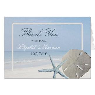 砂ドルおよびヒトデのビーチ結婚式は感謝していしています カード